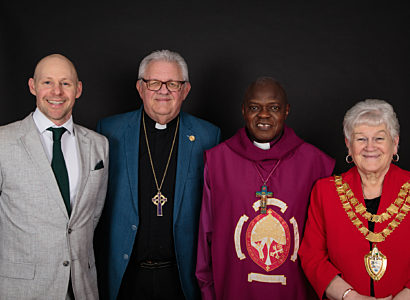 The Reverend Jonny Lee with Bishop David Carr and Archbishop of York