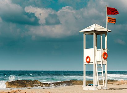 Lifeguard station on beach
