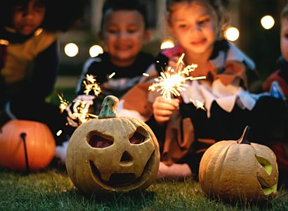 Pumpkin kids and sparklers