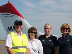 MAF flight. Pilot Mike Riley with Candy O'Donovan and MAF CEO Ruth Whitaker