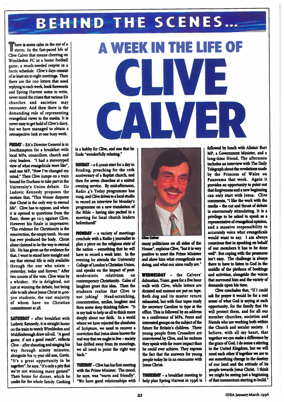 A week in the life of Clive Calver