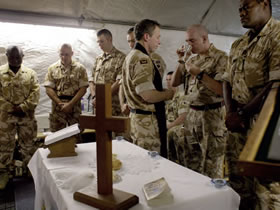 Christian soldiers gather for communion