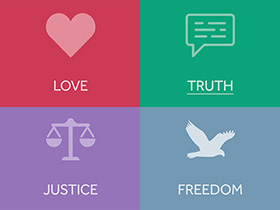 How can we demonstrate love, freedom, justice and truth in 2018?
